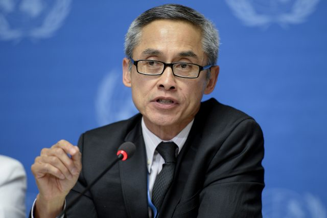 Vitit Muntarbhorn, Member of the Commission of Inquiry on the Syrian Arab Republic at a press conference. 16 June 2014. UN Photo / Jean-Marc FerrŽ