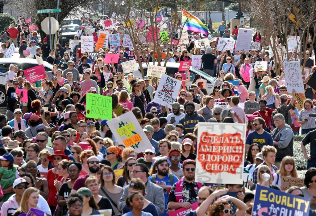 A large crowd gathers at the Capitol for the Women's March on Jackson, Miss., as people across the nation rally in support of women's rights Saturday, Jan. 21, 2017. (Elijah Baylis/The Clarion-Ledger, via AP) NYTCREDIT: Elijah Baylis/The Clarion-Ledger, via Associated Press