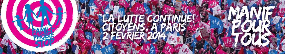 Photo of 2 februarie 2014 – a doua manifestație a mișcării La Manif Pour Tous: manifestul acesteia