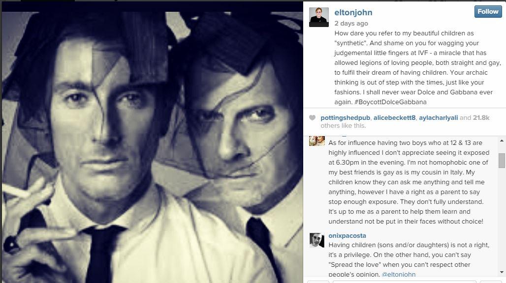 Photo of Elton John îndeamnă la boicotarea Dolce & Gabbana, după ce designerii își declară sprijinul pentru familia naturală