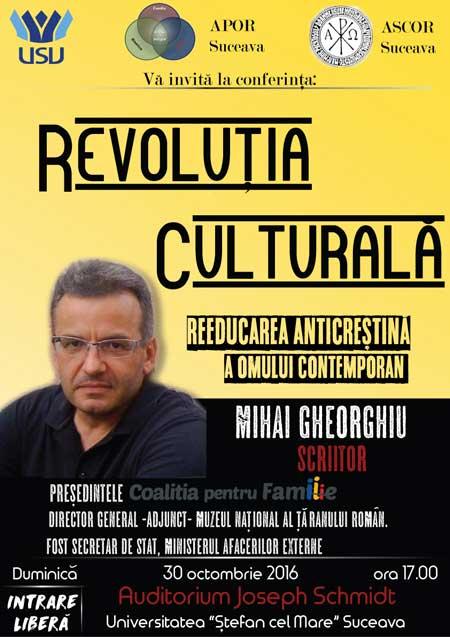 """Photo of Suceava: Conferința """"Revoluția Culturală – Reeducarea anticrestină a omului contemporan"""""""