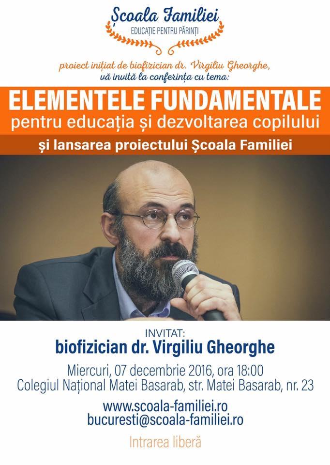 """Photo of ȘCOALA FAMILIEI. Conferință de lansare la București: """"Elementele fundamentale pentru educatia si dezvoltarea copilului"""""""