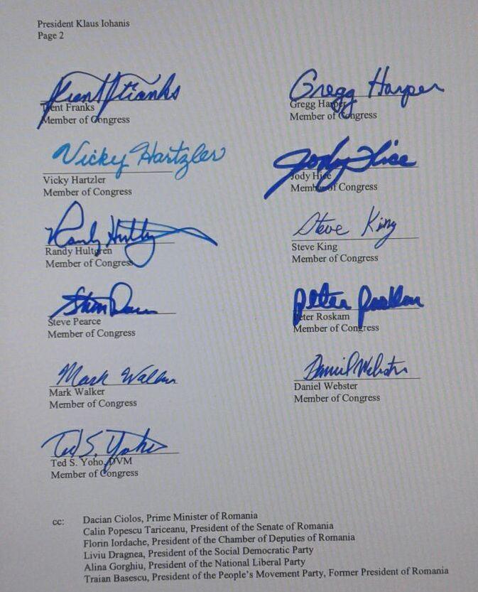 Photo of 7 Decembrie 2016: 13 congresmani americani îi scriu președintelui Iohannis să susțină referendumul pentru familie – cu CC la premier, parlament și principalele partide din România