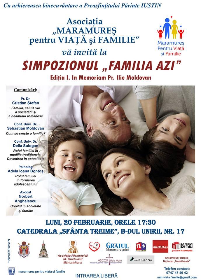 "Photo of 20 februarie 2017, ora 17.30: Simpozionul ""Familia azi"" la Baia Mare. Intrarea liberă"