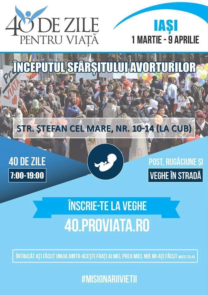 """Photo of AFIȘ, FOTO, MESAJE PRO-VIAȚĂ din campania de veghe cu rugăciune """"40 de Zile pentru Viață"""" de la Iași"""