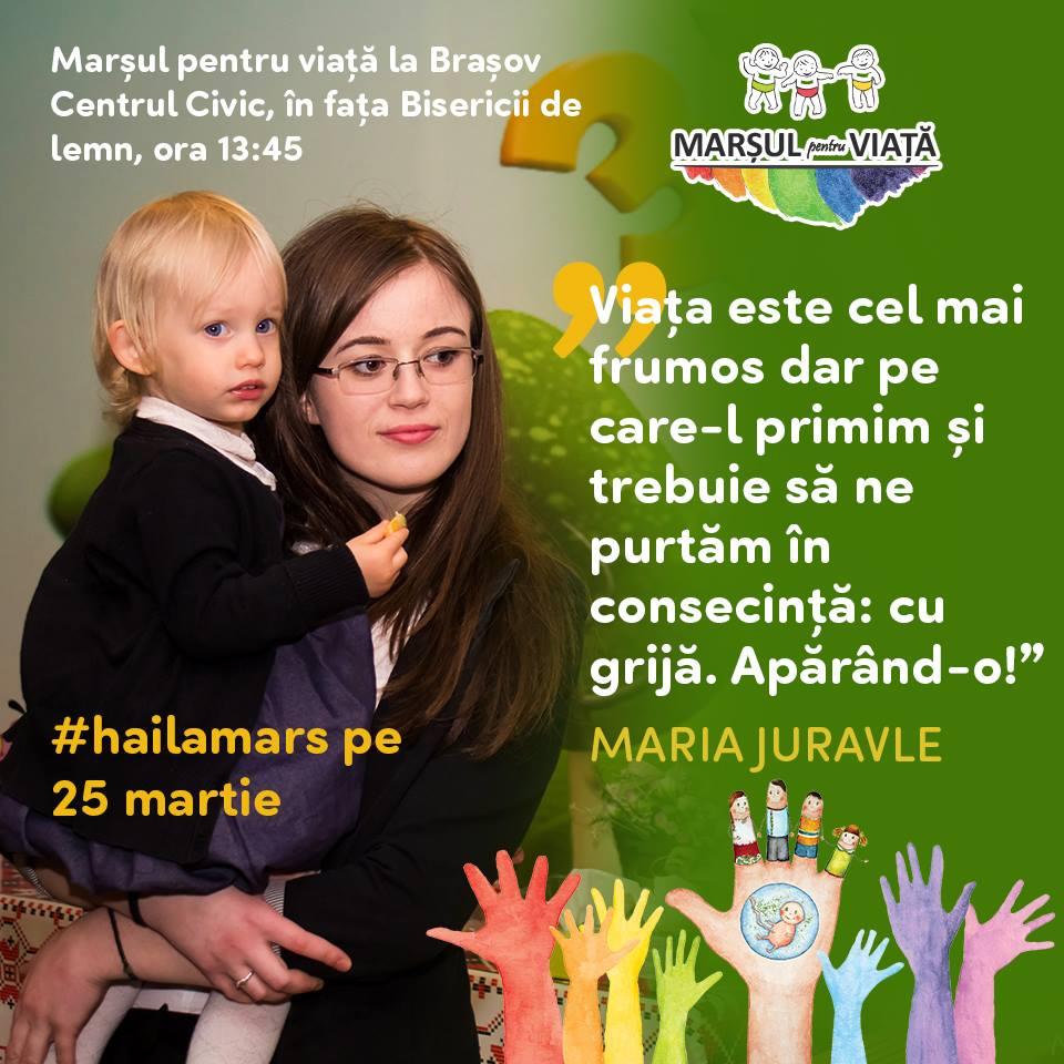 Photo of Discursul Mariei Juravle, Președinte Studenți pentru Viață Brașov, la Marșul pentru Viață 2017 de la Brașov